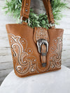Concealed Carry Brown Western Buckle Handbag