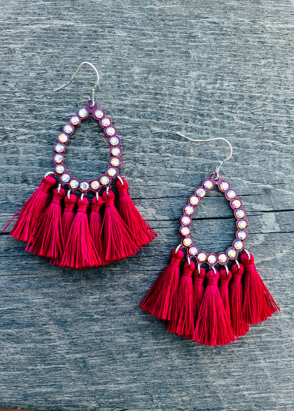 Burgundy Red Teardrop Tassel Earrings