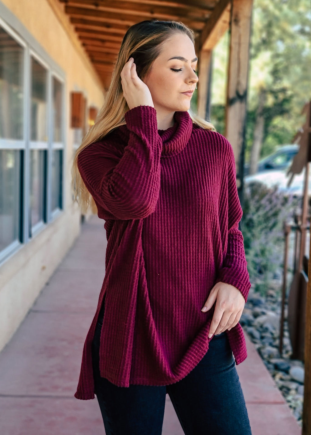 Burgundy Cowl Neck Thermal Long Sleeve Top on model