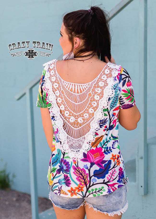 Floral Crochet Short Sleeve Top