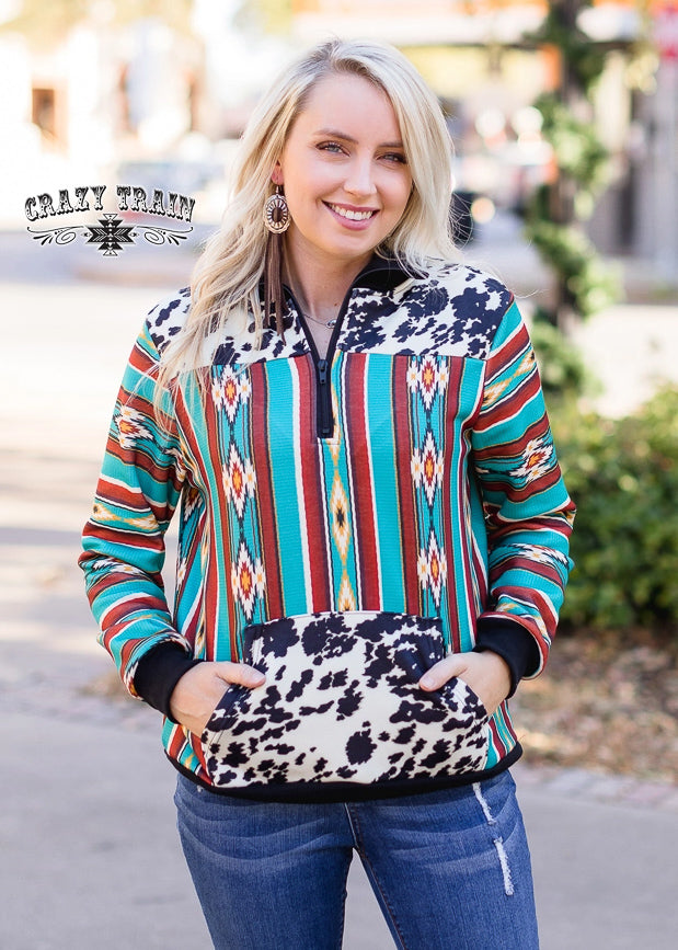 Aztec & Cowhide Pullover Top