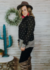 Charcoal Polka Dot Cowl Neck Top on blonde model