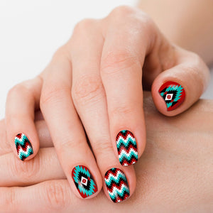 Cheyenne Turquoise & Red Aztec Nail Strips