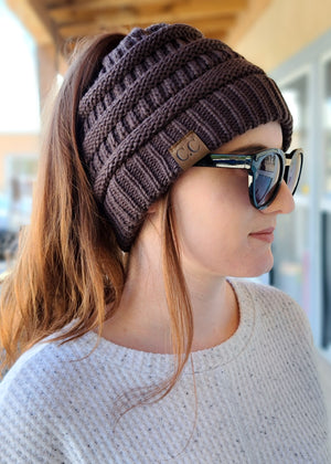 Chocolate Brown Ponytail Beanie on model