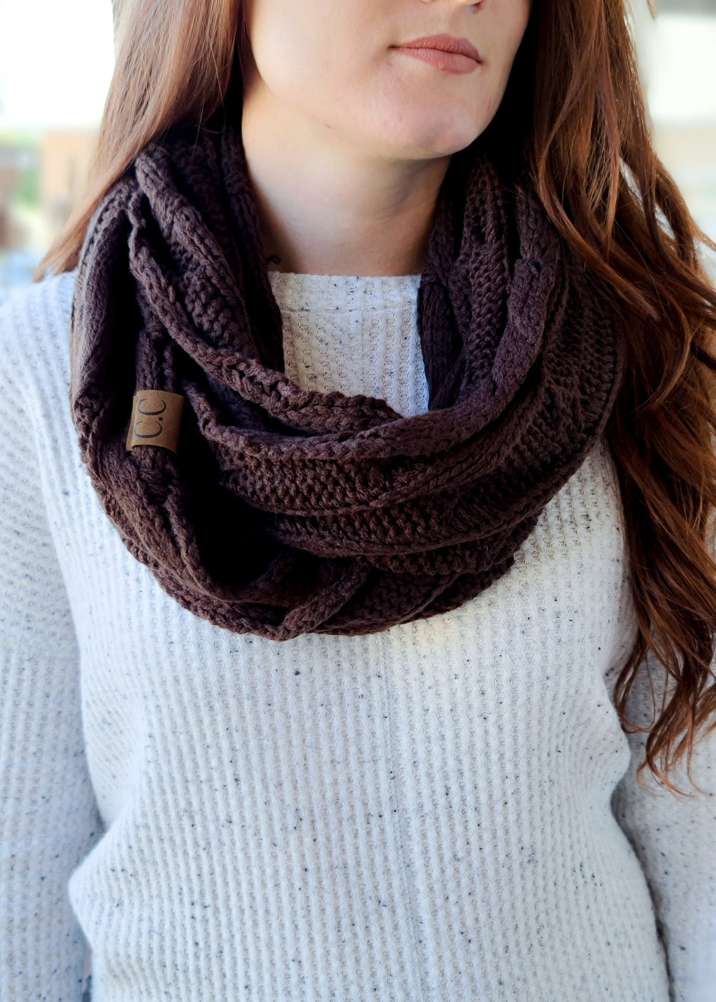 Chocolate Brown Cable Knit Infinity Scarf on model
