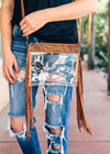 Clear Fringe Crossbody Handbag on model, shot outside