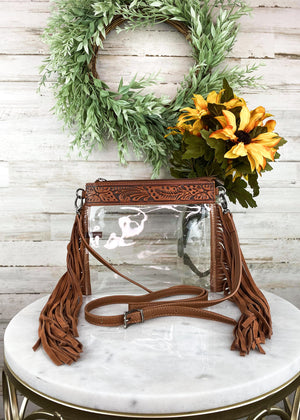 Clear Fringe Crossbody Handbag