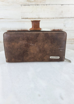 Coffee Cowhide Concho Wallet