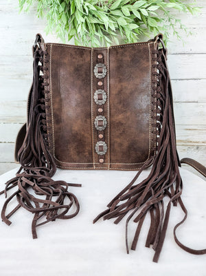 Concealed Carry Coffee Concho Fringe Handbag & Wallet Set