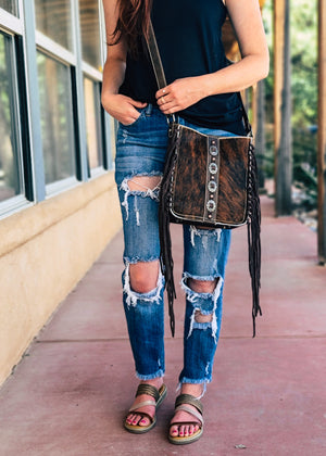 Concealed Carry Coffee Cowhide Fringe Crossbody Handbag with model