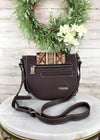 Trinity Ranch Coffee Studded Fringe Crossbody Handbag, back view