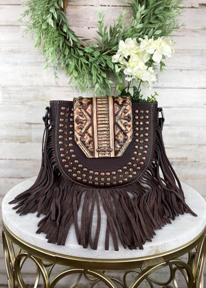 Trinity Ranch Coffee Studded Fringe Crossbody Handbag