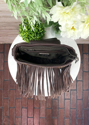 Trinity Ranch Coffee Studded Fringe Crossbody Handbag, inside view