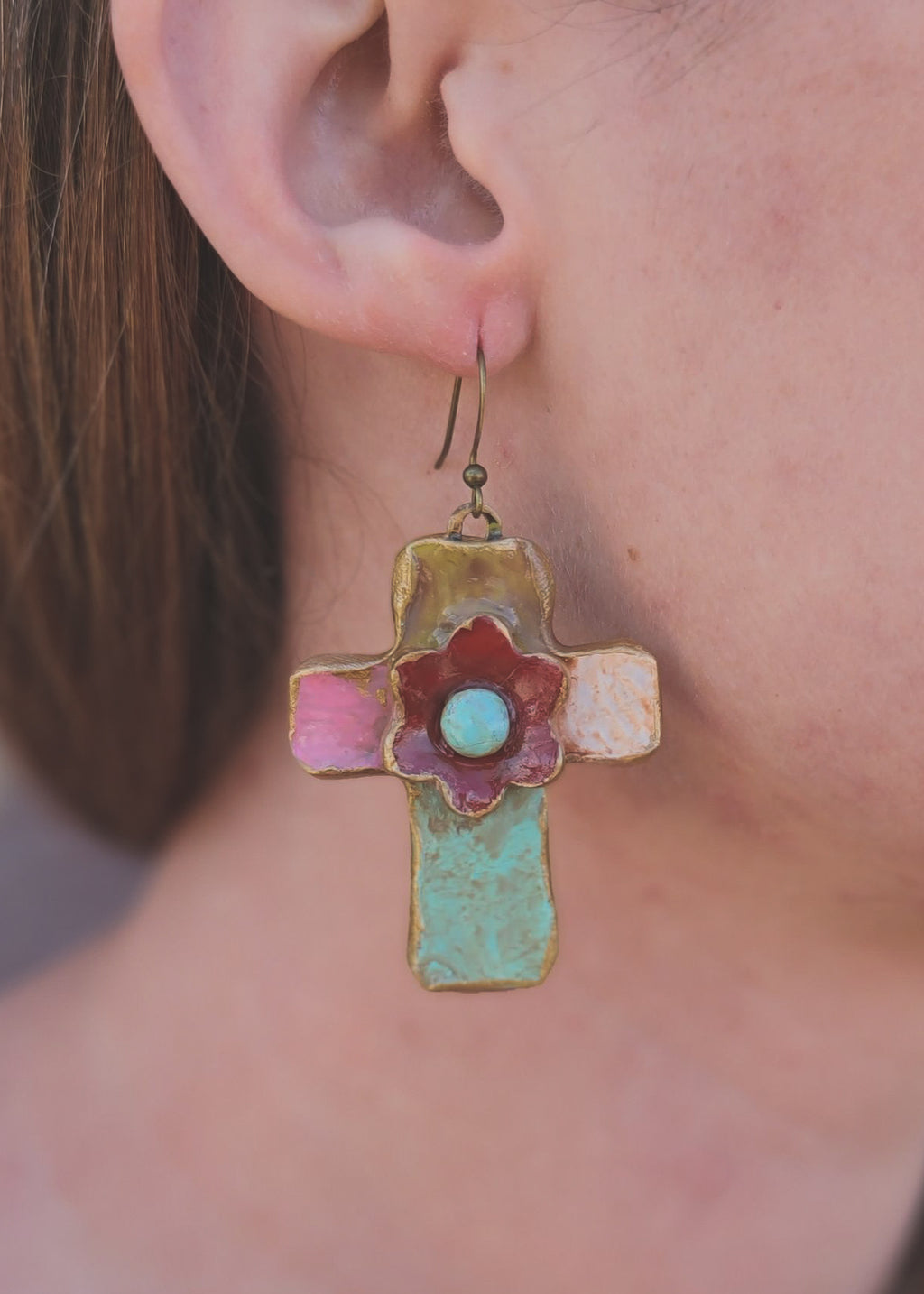 Distressed Colorful Cross Earrings
