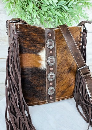Concealed Carry Coffee Cowhide Fringe Crossbody Handbag