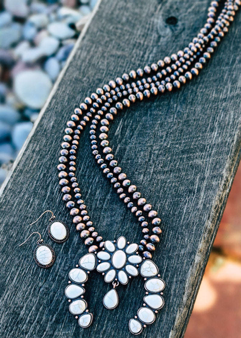 Copper & Ivory Squash Blossom Necklace