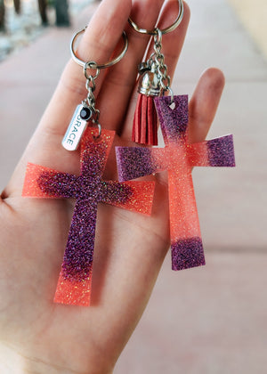 Coral & Purple Cross (Set of 2) Keychain