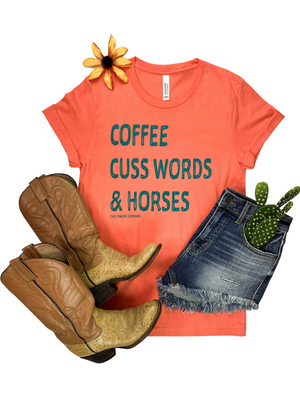 Coral Coffee, Cuss Words & Horses Short Sleeve Graphic Tee