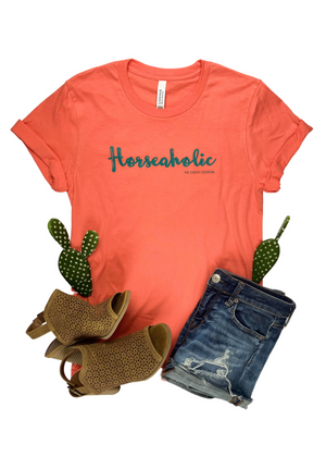 Coral Horseaholic Short Sleeve Graphic Tee