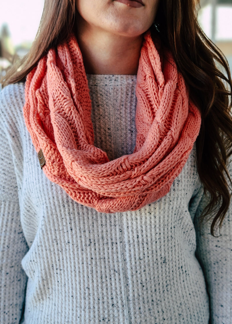 Coral Cable Knit Infinity Scarf with model
