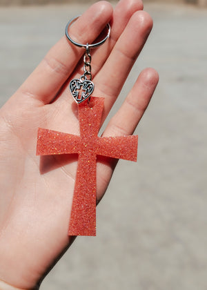 Coral Peachy Cross Keychain