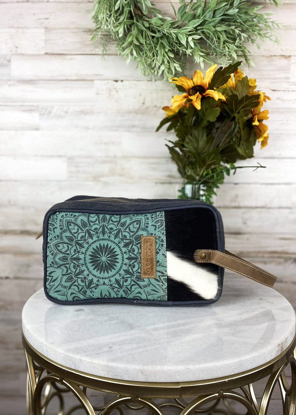 Turquoise & Cowhide Cosmetic Travel Bag