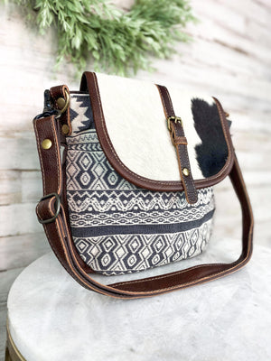 Brown Canvas Cowhide Aztec Crossbody