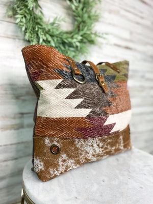 Colorful Aztec & Cowhide Handbag