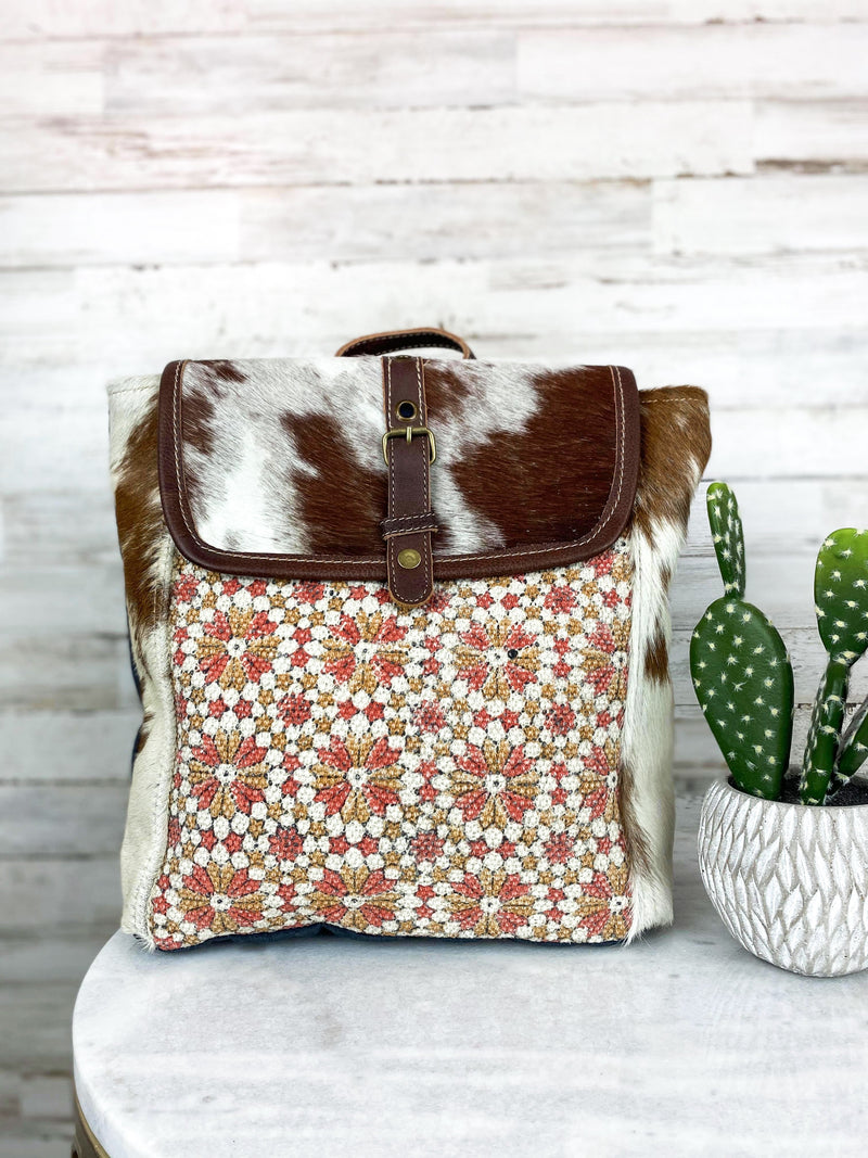 cowhide aztec myra backpack