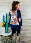 Navy Aztec Cowl Neck Long Sleeve Top on brunette model