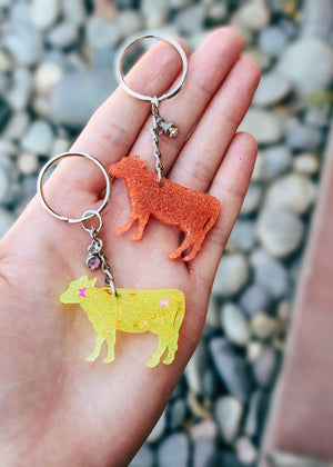Yellow Butterfly & Peach Cow Mini (set of) Keychain