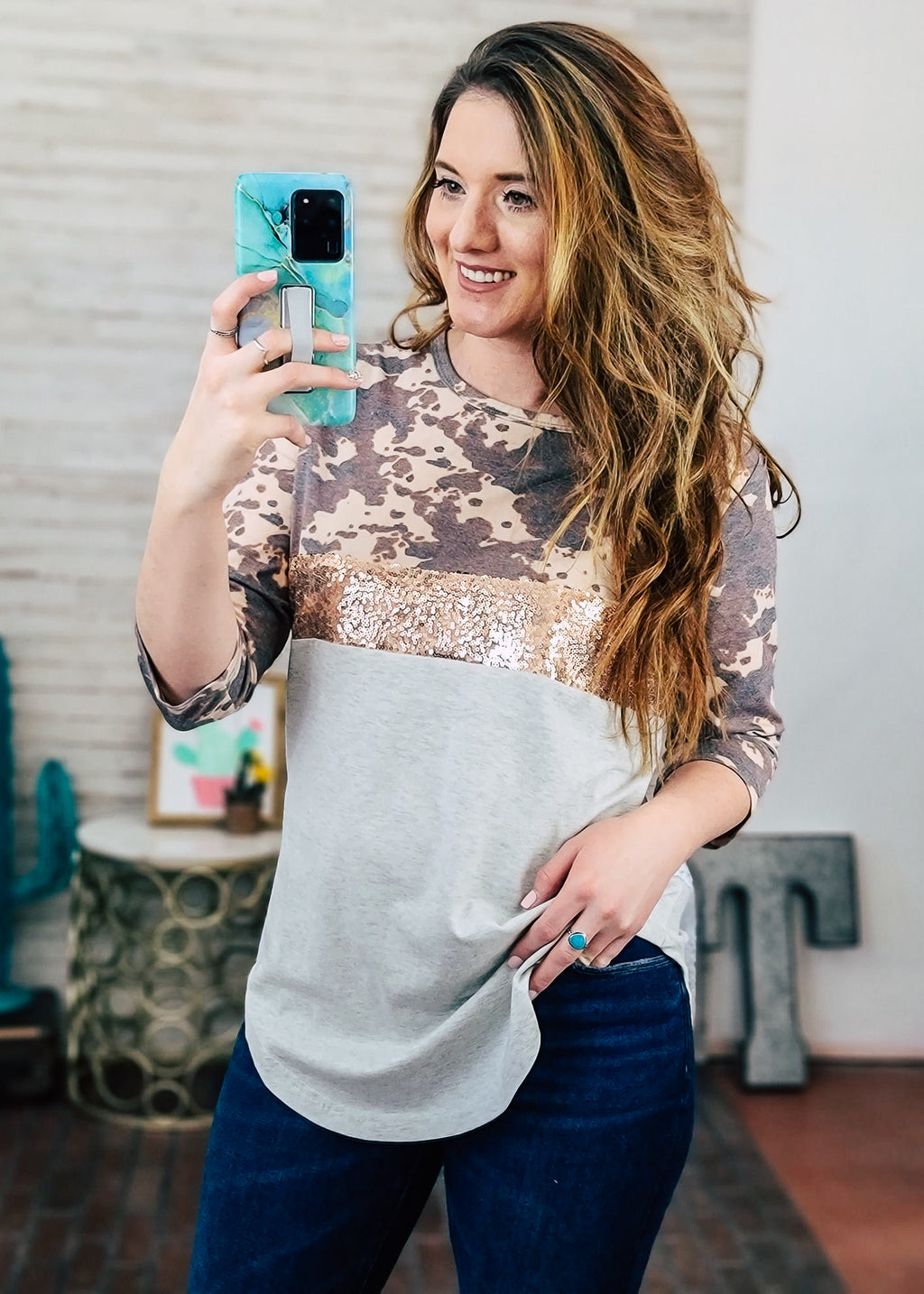 Cowprint & Sequin Raglan Top