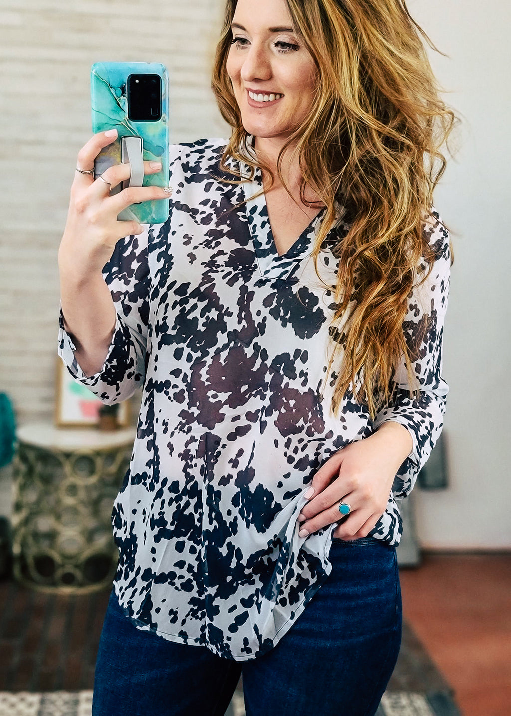 Cowprint 3/4 Sleeve Top