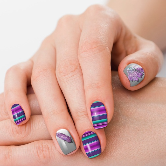 Gray & Purple Serape Nail Strips