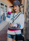 Cream Crew Neck Color Block Sweater