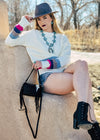 Cream Crew Neck Color Block Sweater on model with accessories