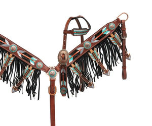 Cut Out Arrow Fringe Headstall Set