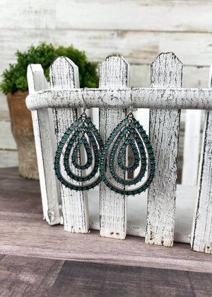 Dark Teal Layered Teardrop Earrings