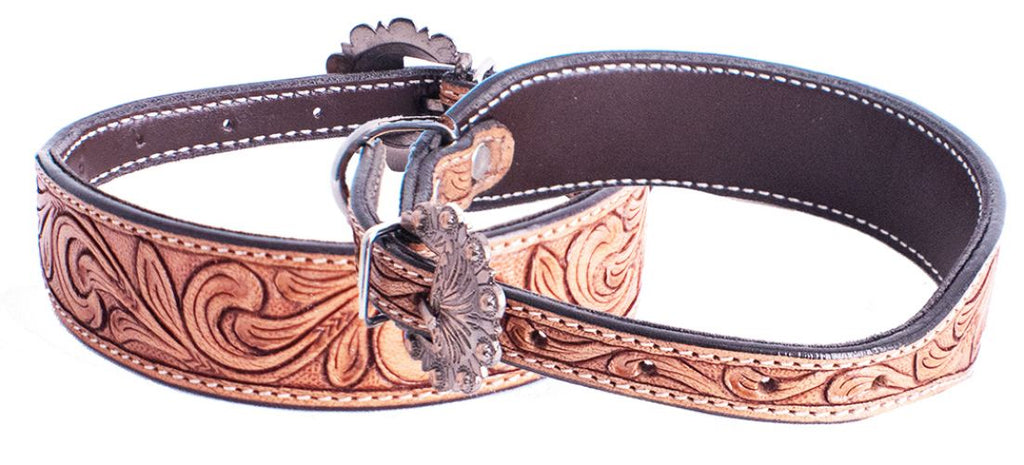 Floral Tooled Leather Dog Collar