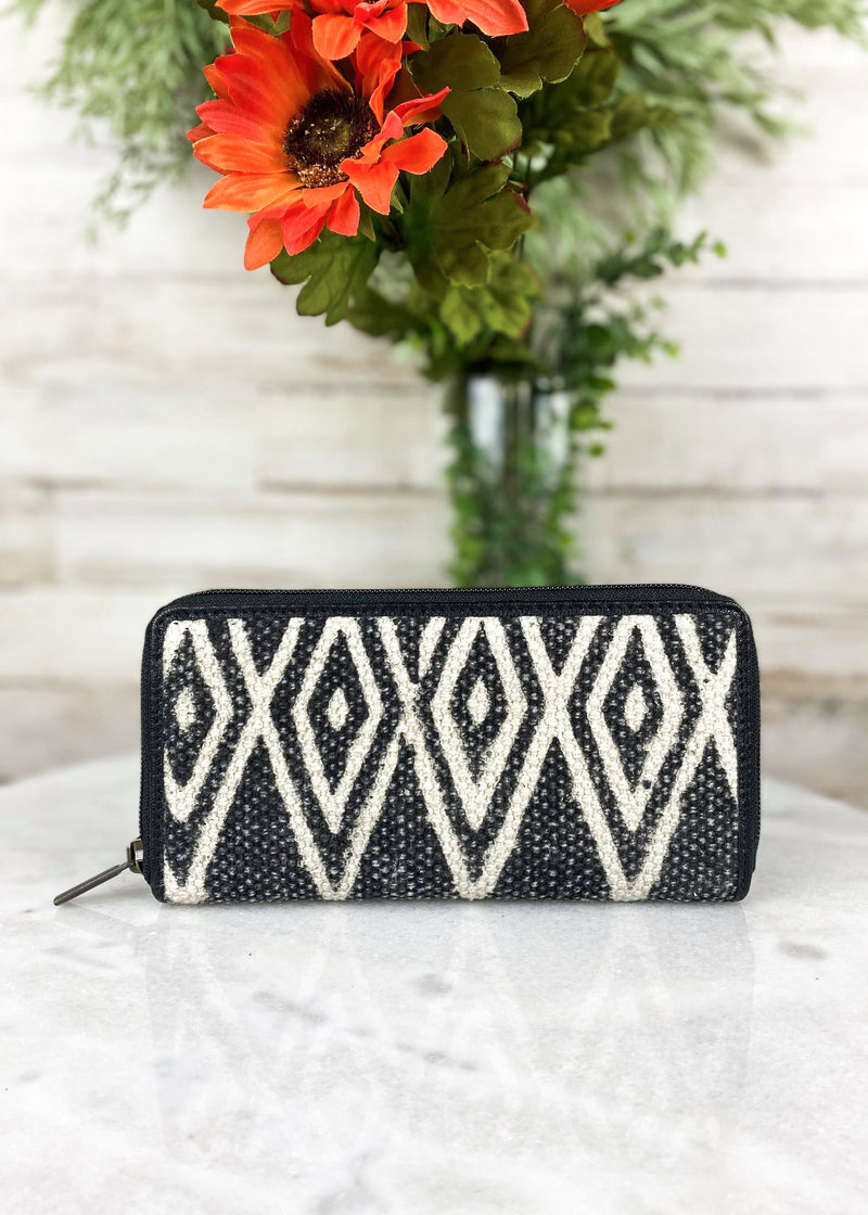 Distressed Canvas Black Aztec Zip Wallet