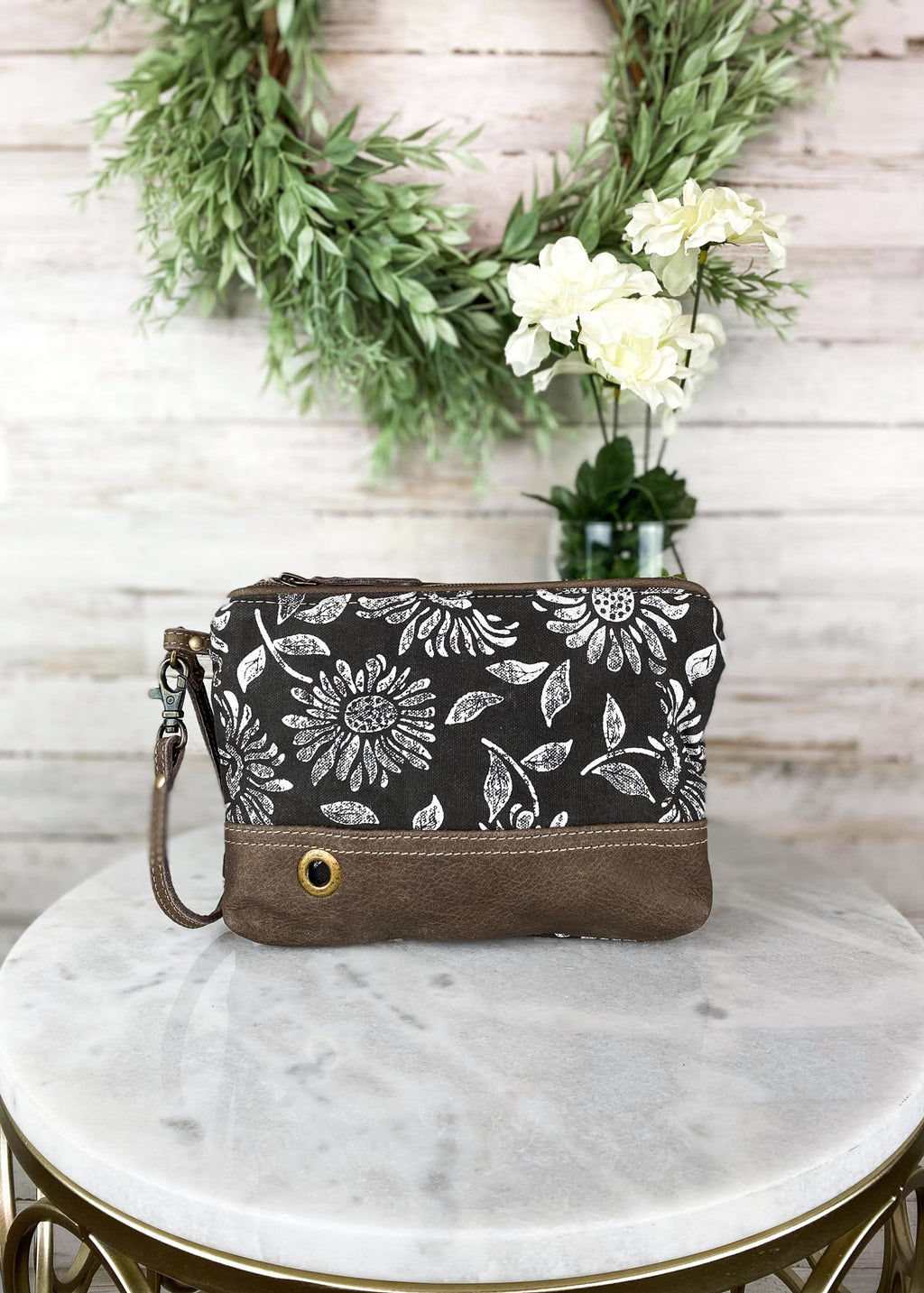 Distressed Sunflower Wristlet/Pouch