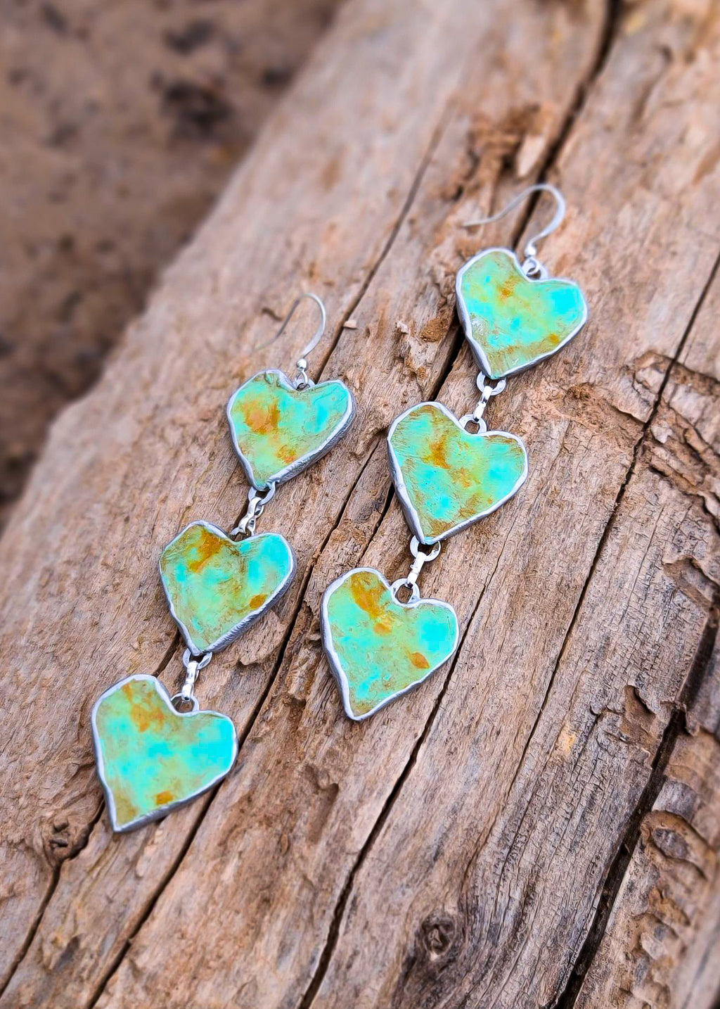 Distressed Turquoise Heart Trio Earrings