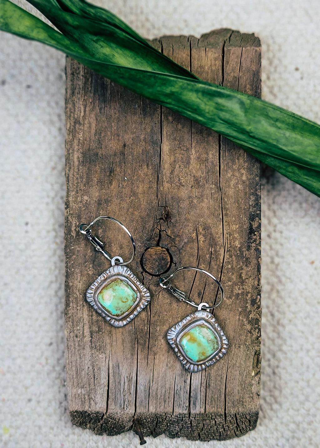 Distressed Turquoise Pendant Hoop Earrings