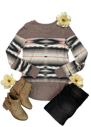 Dusty Pink Aztec Long Sleeve Top with black jeans and tan fringe booties