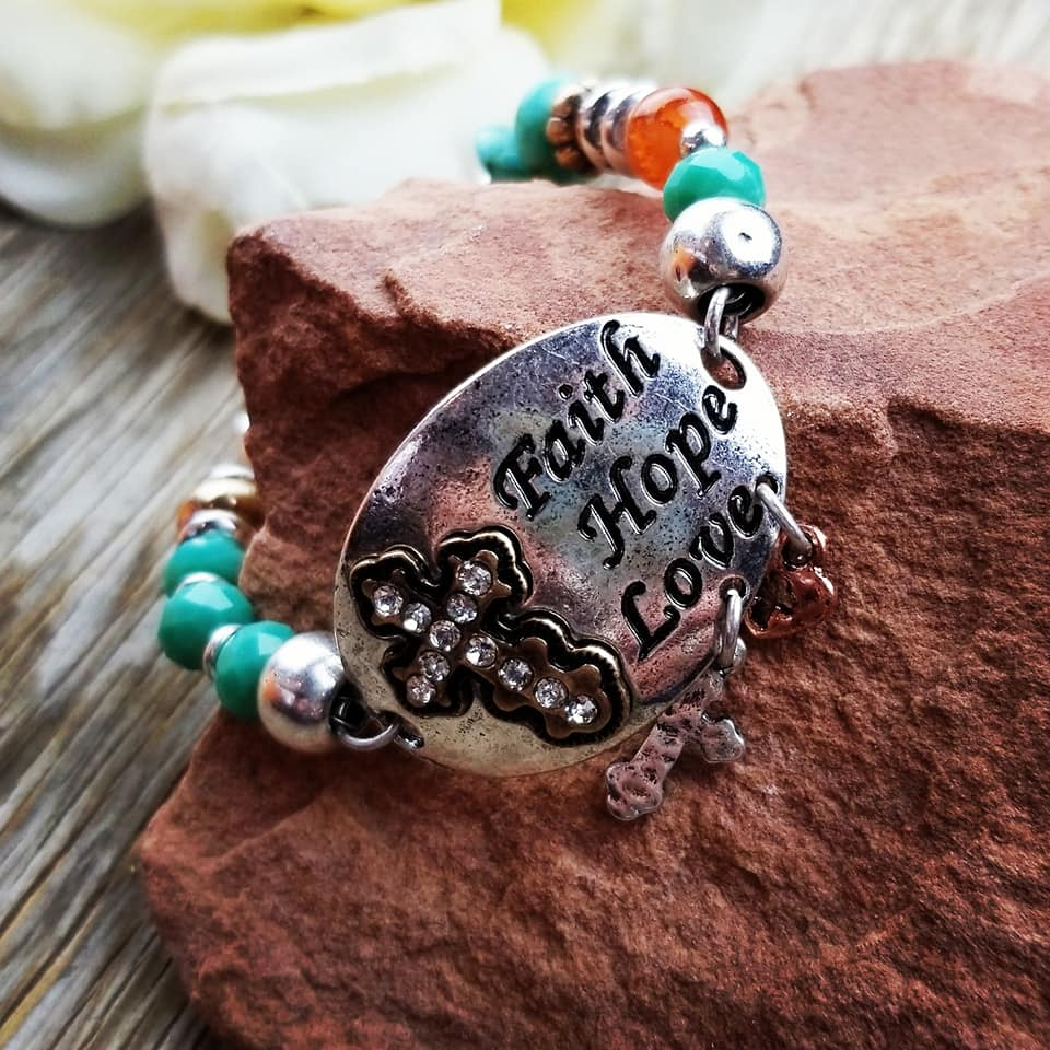 Faith Hope Love Beaded Bracelet