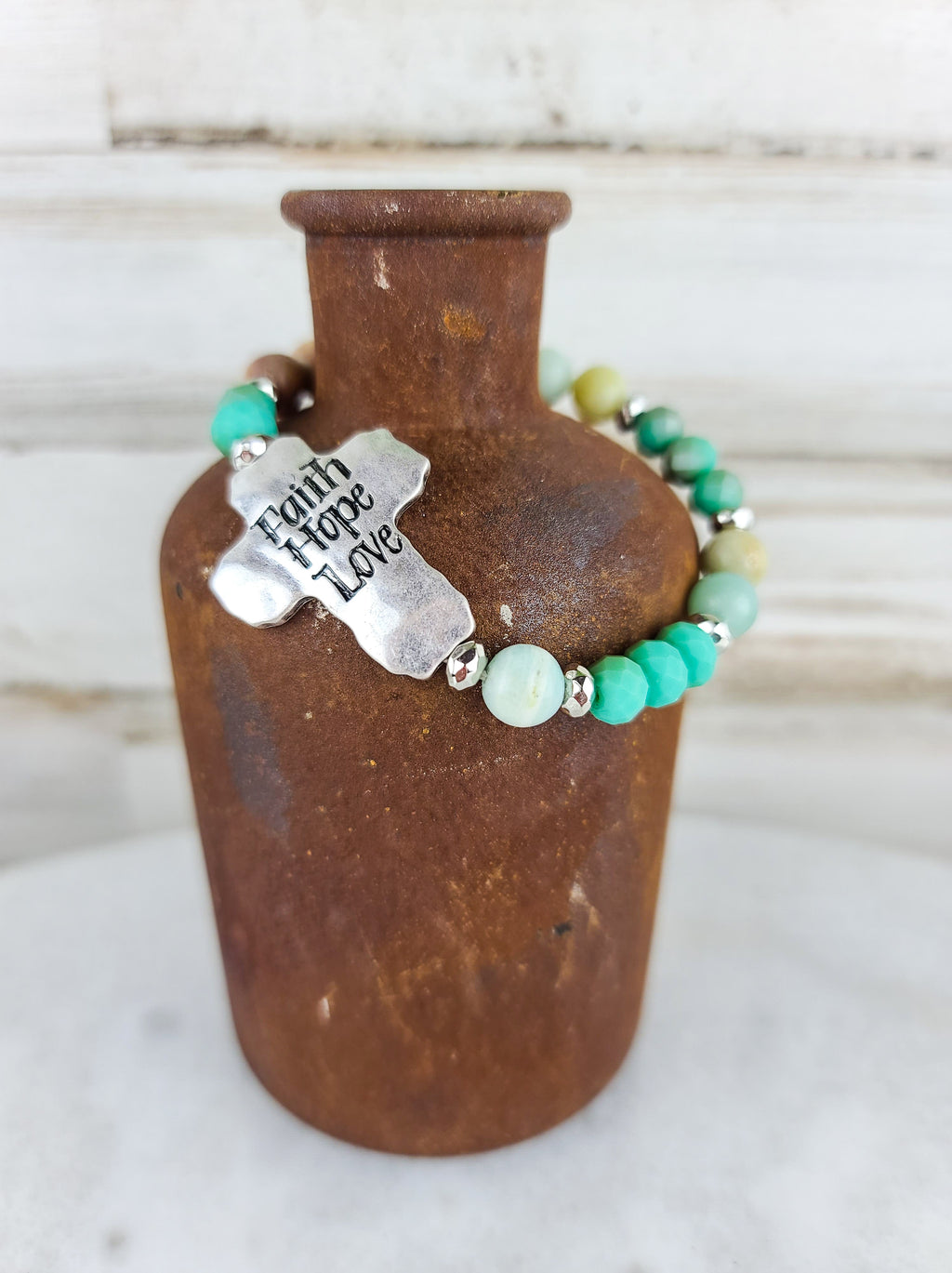 Faith Hope Love Cross Stretch Bracelet