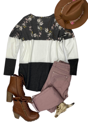 Floral Color Block Dolman Long Sleeve Top