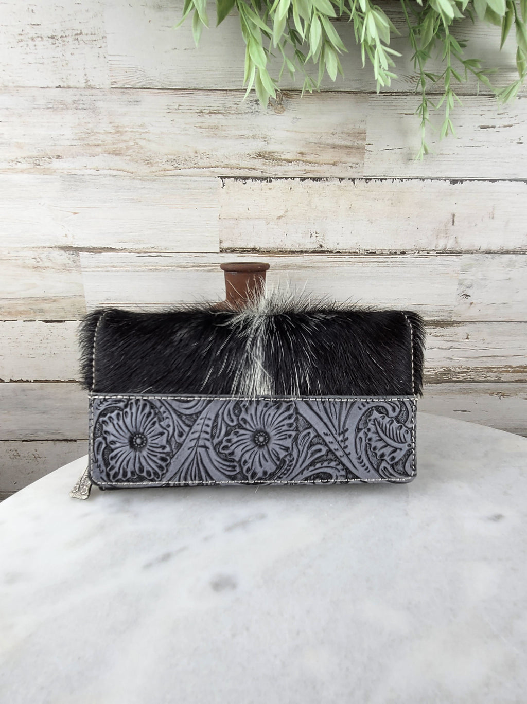 Trinity Ranch Floral Tooled Cowhide Wallet