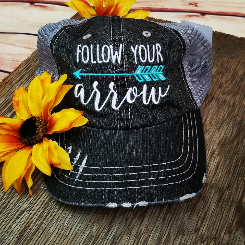 Follow Your Arrow Turquoise Trucker Cap