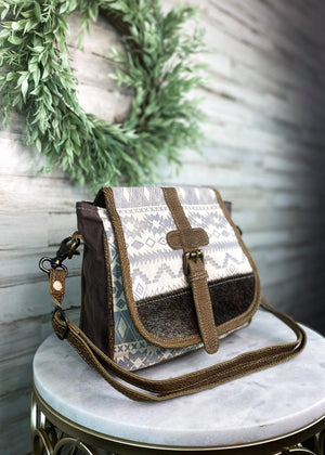 Gray & Cream Aztec Buckle Crossbody Handbag